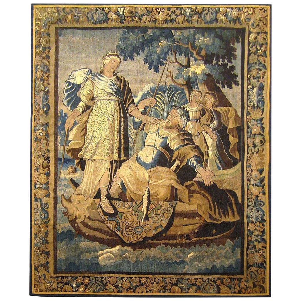 17th Century Franco-Flemish Mythological Tapestry, with Diana and Fishermen