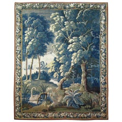 17th Century Franco-Flemish Verdure Tapestry, with a Swan in a Stream