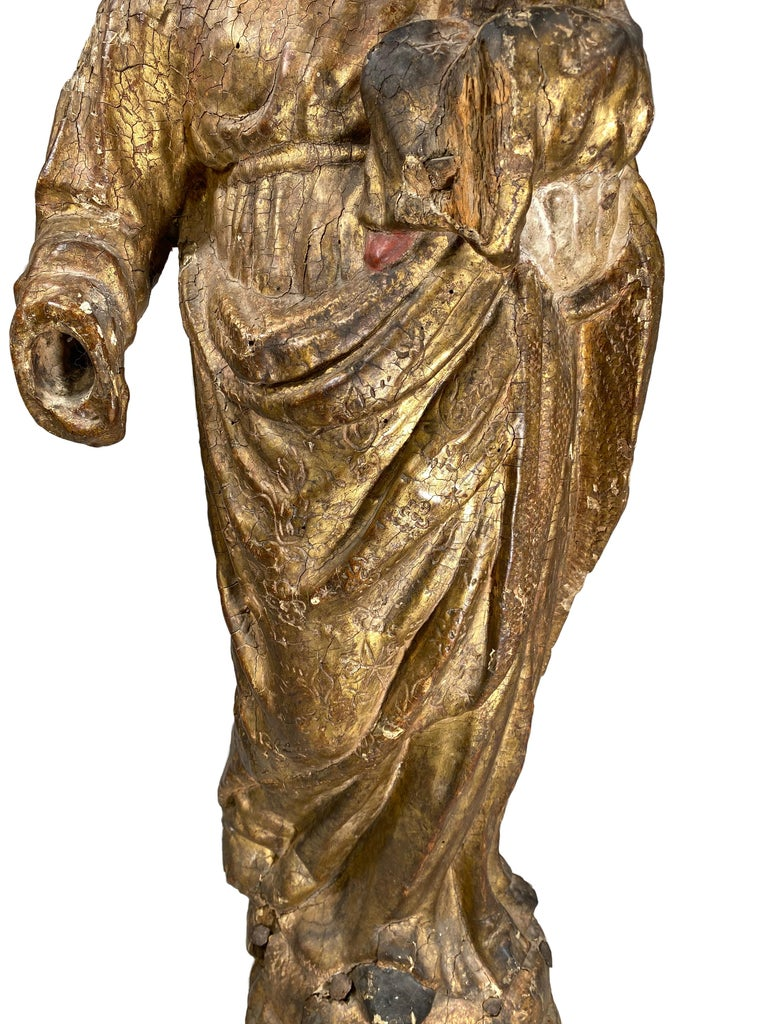 Polychromed 17th Century French Carved Giltwood Polychrome Statue, Virgin and Child For Sale