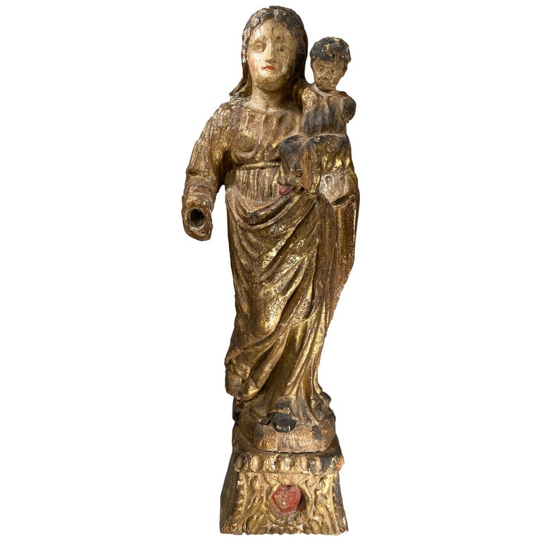 17th Century French Carved Giltwood Polychrome Statue, Virgin and Child For Sale