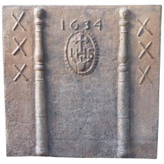 17th Century French Fireback Pillars with Medieval IHS Monogram