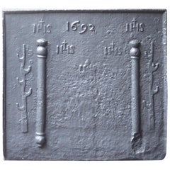 17th Century French Fireback Pillars with Medieval IHS Monograms