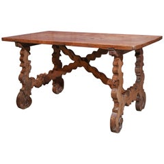 17th Century French Fruitwood Low Trestle Table