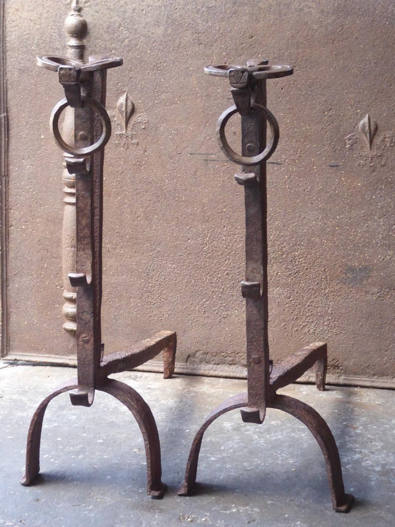 17th Century French Gothic Andirons or Firedogs In Good Condition For Sale In Amerongen, NL