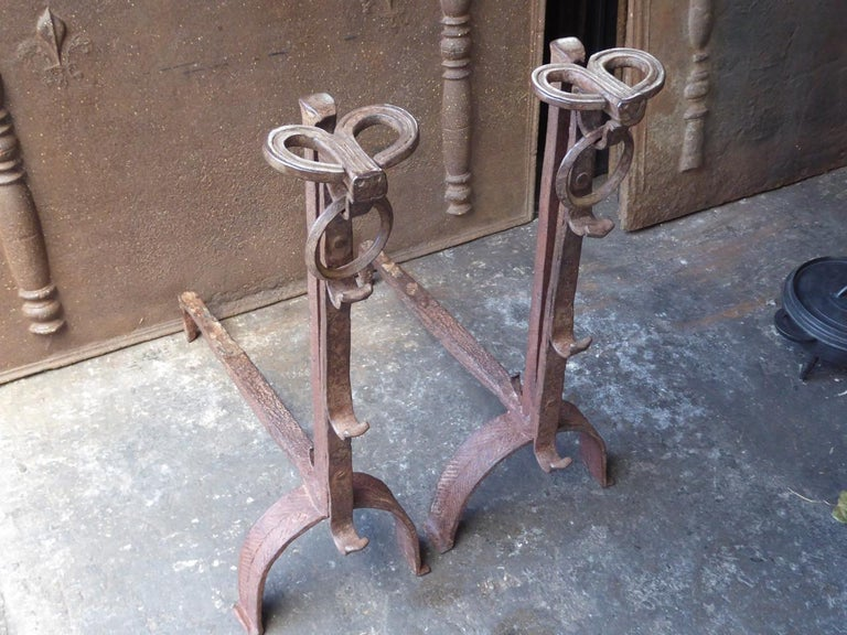 18th Century and Earlier 17th Century French Gothic Andirons or Firedogs For Sale
