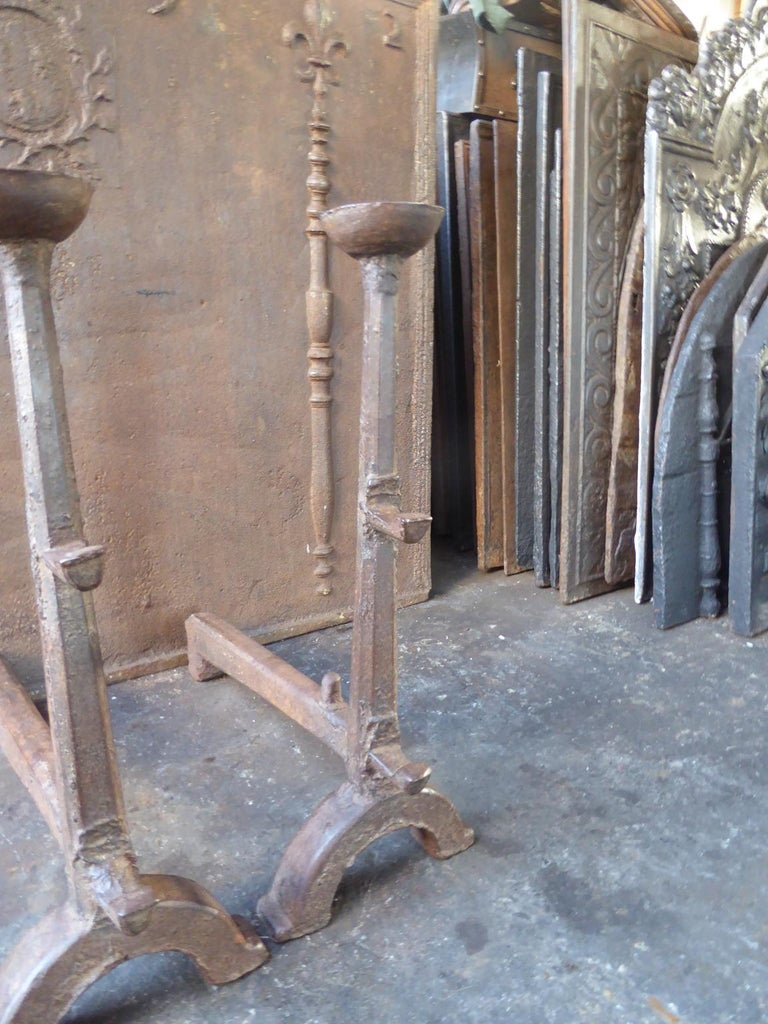 Iron 17th Century French Gothic Andirons or Firedogs For Sale