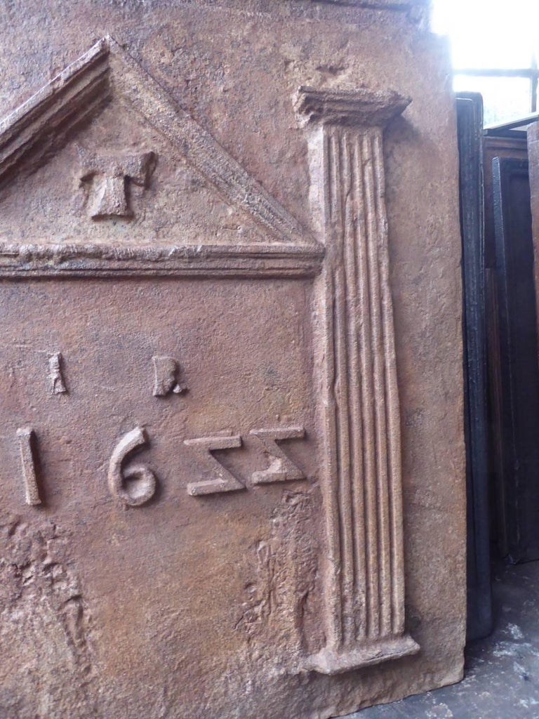 18th Century and Earlier 17th Century French Gothic Fireback For Sale