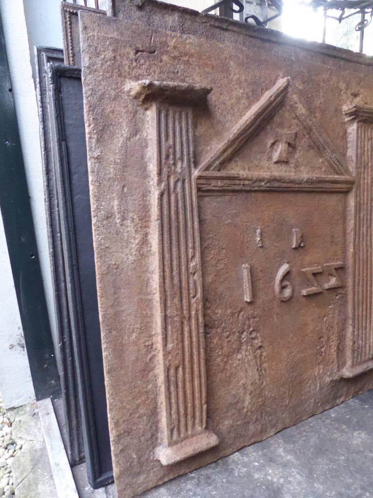 Iron 17th Century French Gothic Fireback For Sale
