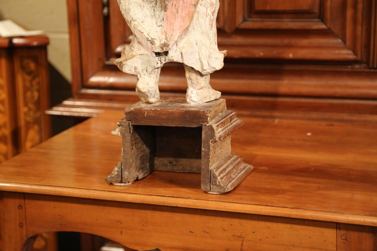 17th Century French Hand Carved Polychrome and Painted Cherub Statue Sculpture For Sale 5