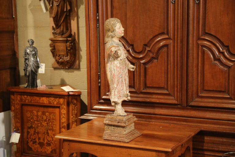 17th Century French Hand Carved Polychrome and Painted Cherub Statue Sculpture In Excellent Condition For Sale In Dallas, TX