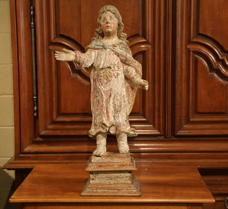 Oak 17th Century French Hand Carved Polychrome and Painted Cherub Statue Sculpture For Sale