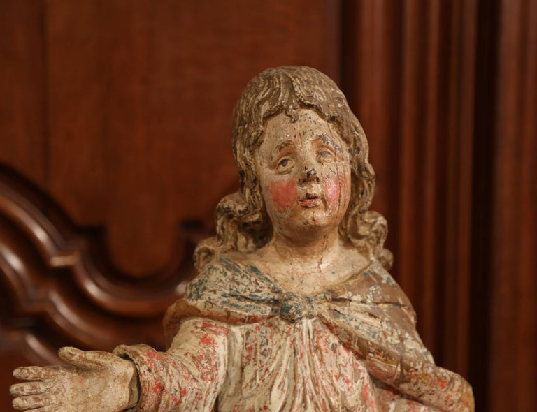 17th Century French Hand Carved Polychrome and Painted Cherub Statue Sculpture For Sale 1