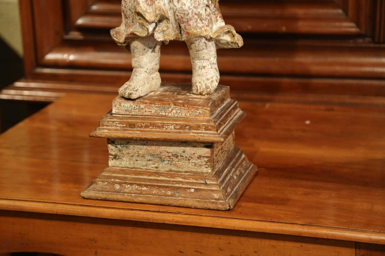 17th Century French Hand Carved Polychrome and Painted Cherub Statue Sculpture For Sale 2
