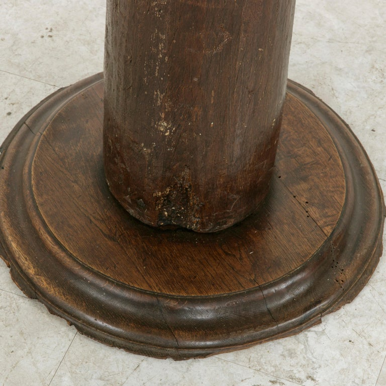 17th Century French Hand-Carved Walnut Pillar Column Pedestal with Gilt Capital For Sale 5