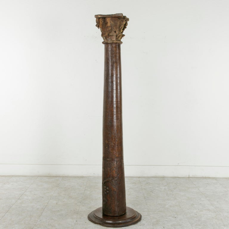 Louis XIV 17th Century French Hand-Carved Walnut Pillar Column Pedestal with Gilt Capital For Sale