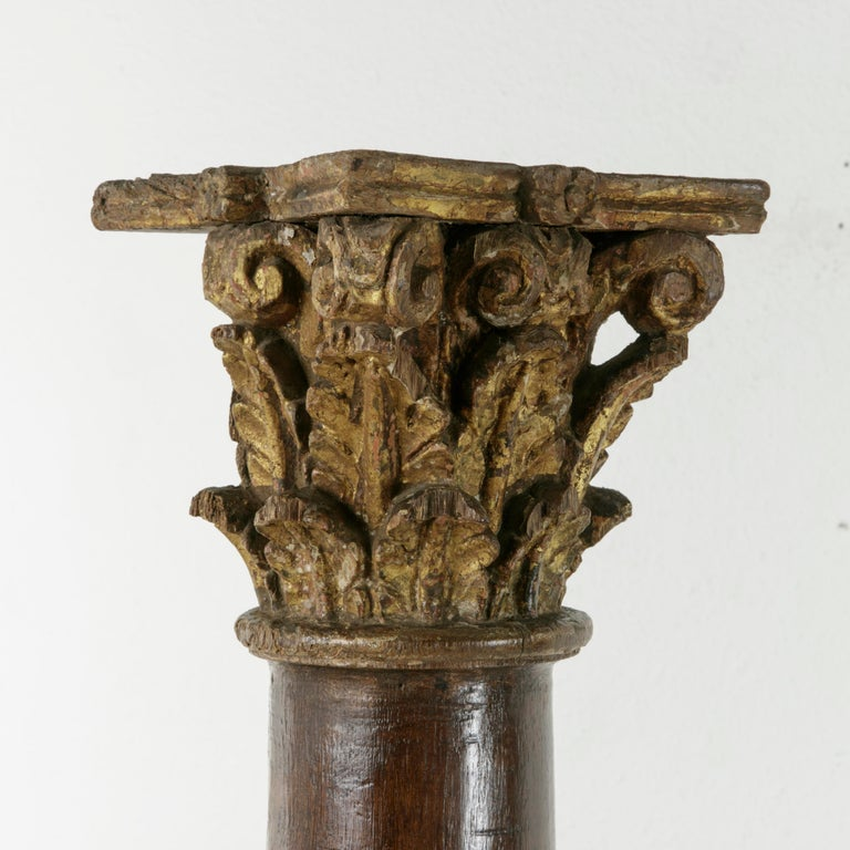 18th Century and Earlier 17th Century French Hand-Carved Walnut Pillar Column Pedestal with Gilt Capital For Sale