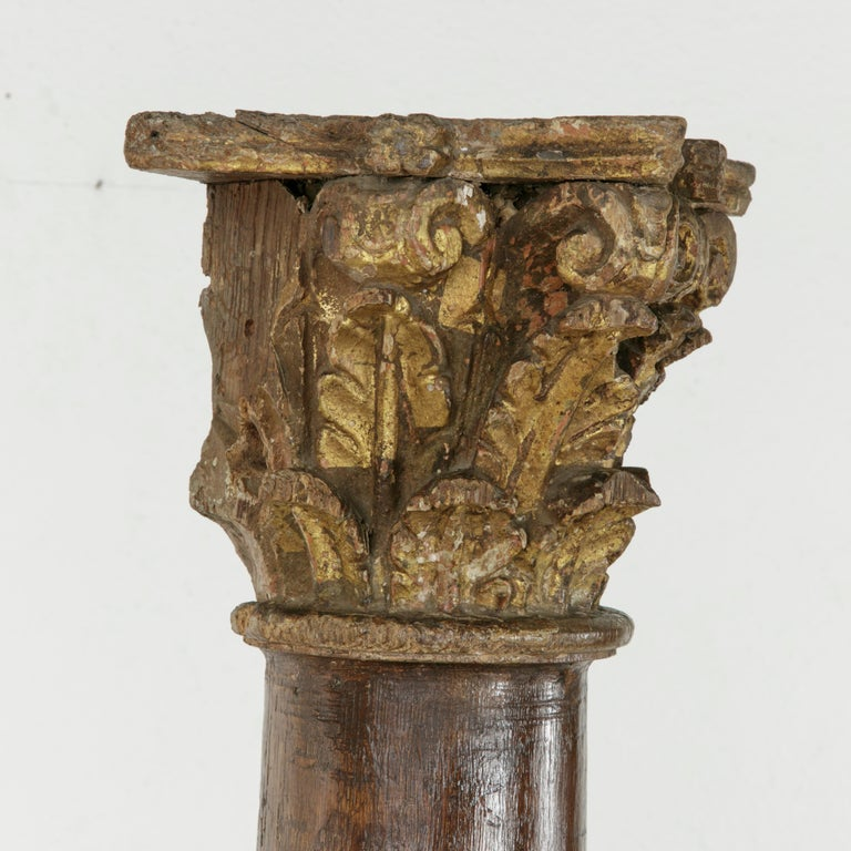 17th Century French Hand-Carved Walnut Pillar Column Pedestal with Gilt Capital For Sale 1