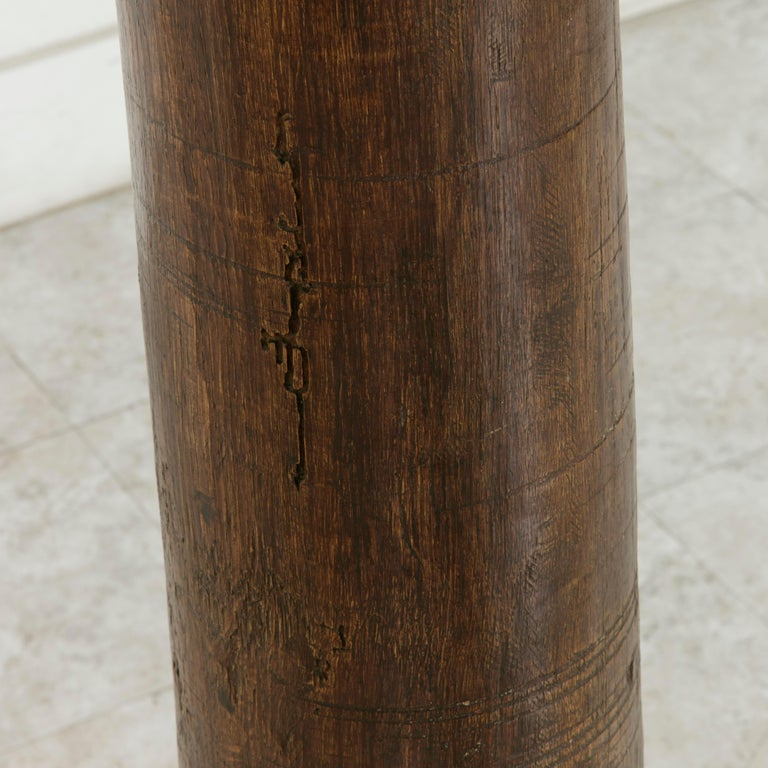 17th Century French Hand-Carved Walnut Pillar Column Pedestal with Gilt Capital For Sale 3