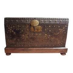 17th Century French Leather Clad Coffer or Blanket Chest