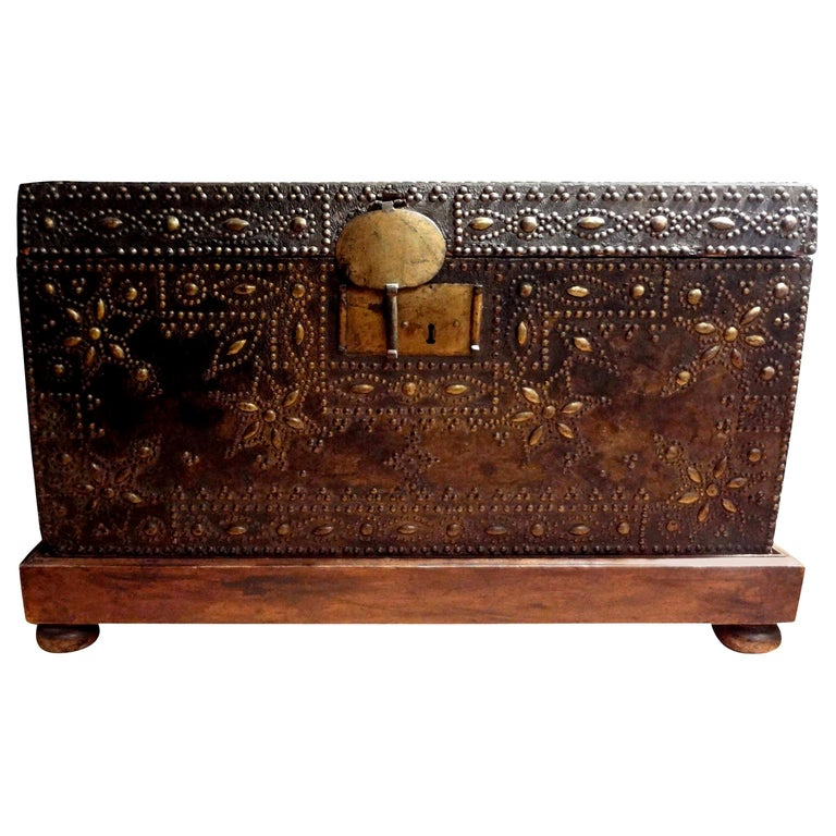17th Century French Leather Clad Coffer or Blanket Chest For Sale