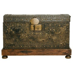 17th Century French Leather Coffer with Nailhead Detail
