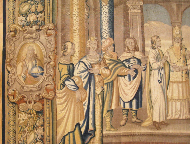 Wool 17th Century French New Testament Religious Tapestry, Marriage of Mary & Joseph For Sale