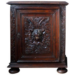 17th Century French Oak Cabinet with an Angel's Head Decoration