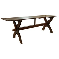 17th Century French Oak Long Trestle / Refectory Dining Table