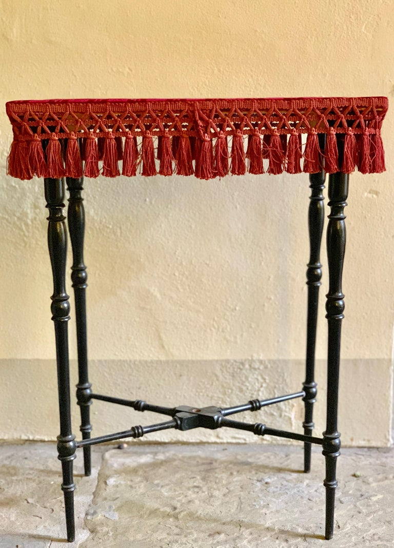 Early 20th Century French Occasional Table with Velvet Top For Sale 4
