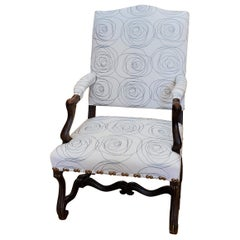 17th Century French Provincial Louis XIV Walnut Armchair with Modern Upholstery