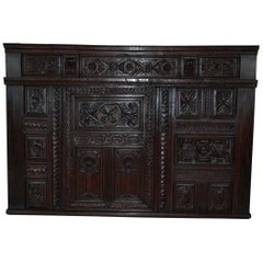 17th Century French Renaissance Hand-Carved Front Section of a Built in Cabinet