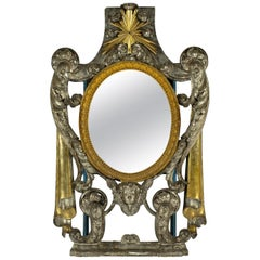 17th Century French Renaissance Silver and Gold Giltwood Mirror