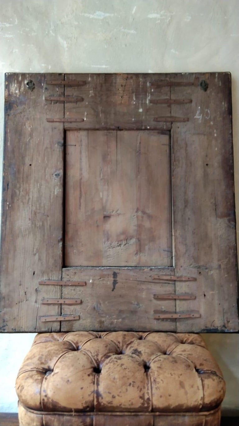 17th Century  French Walnut and Copper Mirror For Sale 5