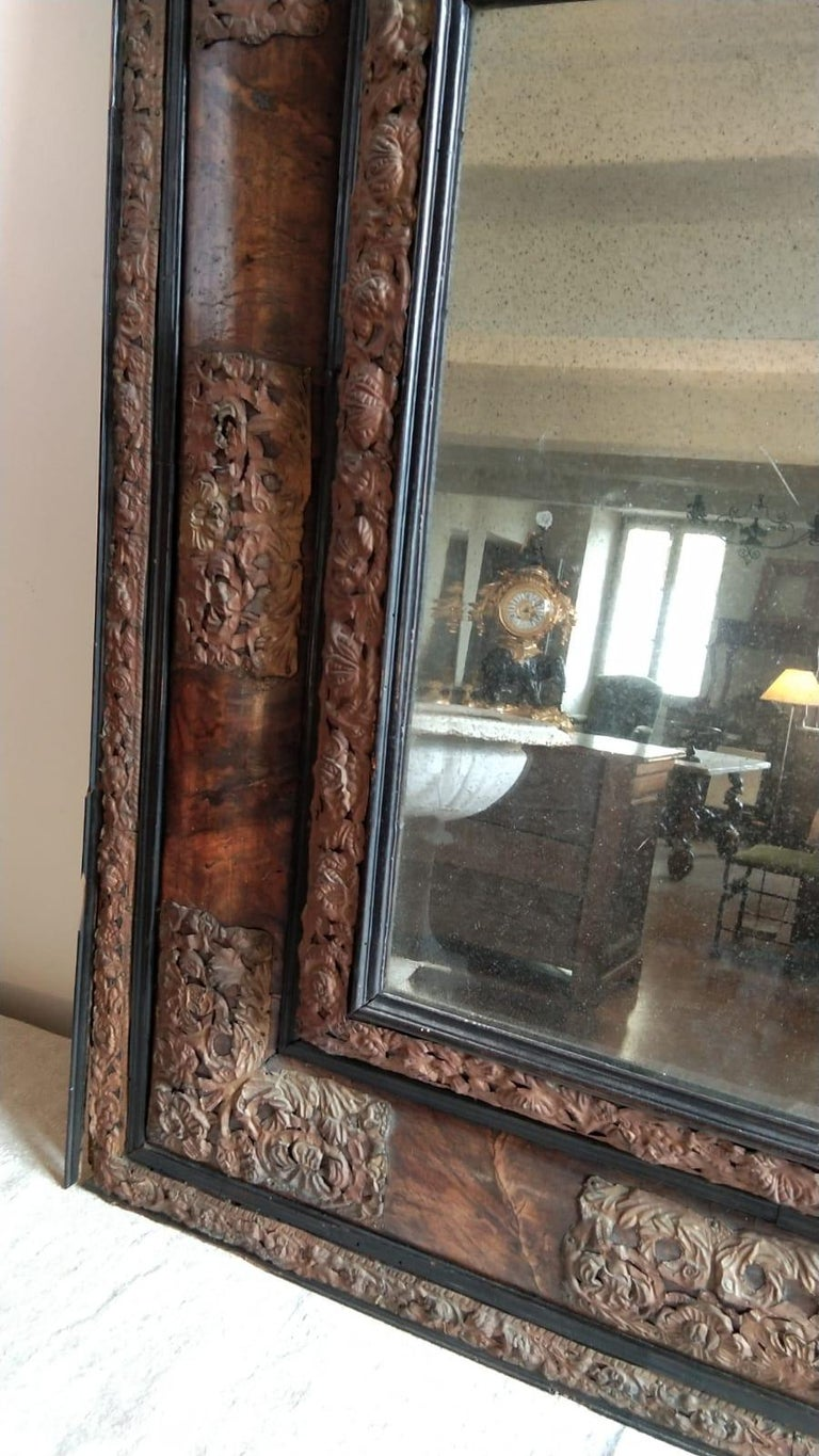 Louis XIII 17th Century  French Walnut and Copper Mirror For Sale