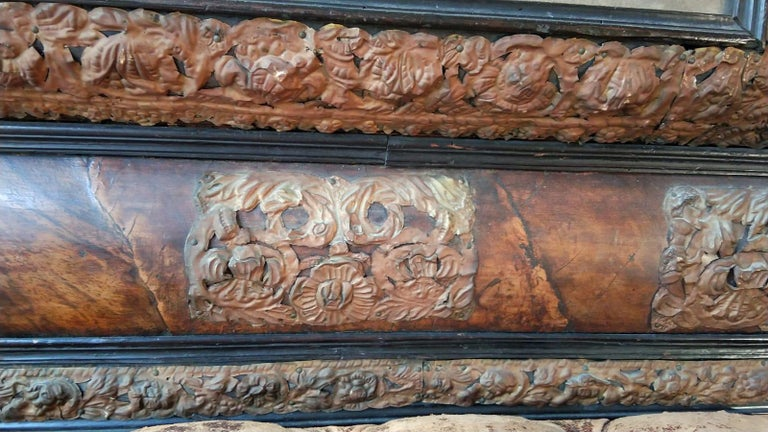 18th Century and Earlier 17th Century  French Walnut and Copper Mirror For Sale