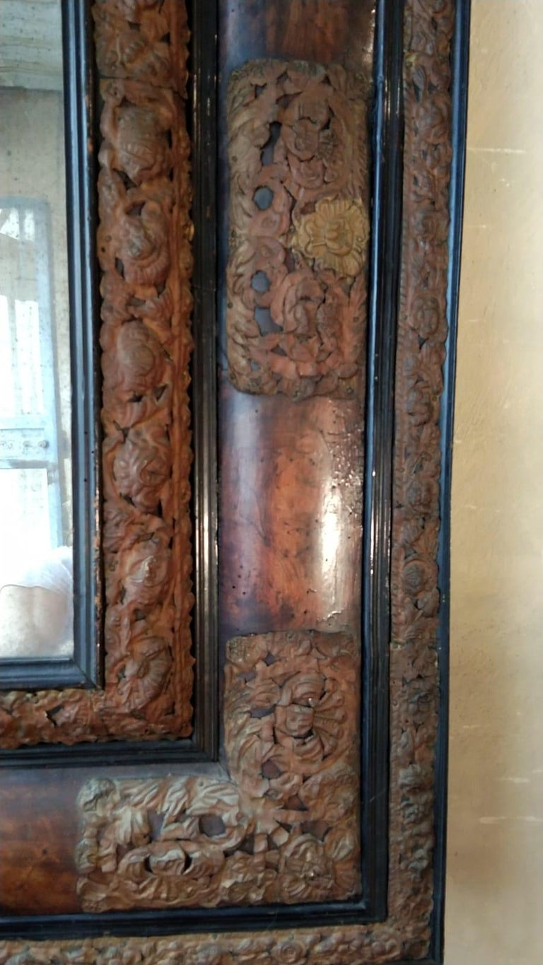 17th Century  French Walnut and Copper Mirror For Sale 1