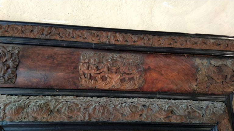 17th Century  French Walnut and Copper Mirror For Sale 2