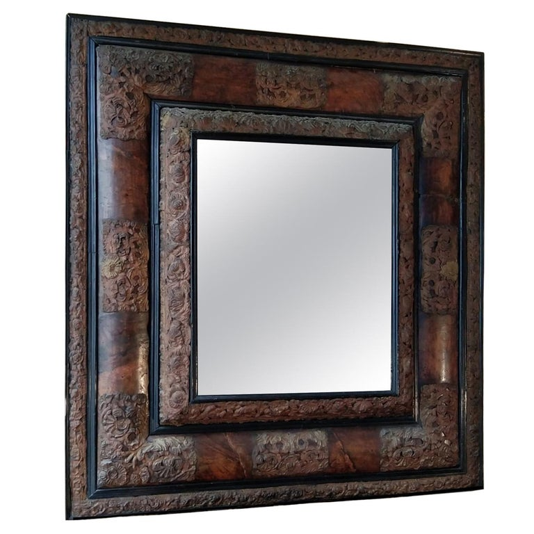 17th Century  French Walnut and Copper Mirror For Sale