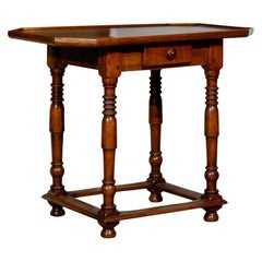17th Century French Walnut Cabaret Table with One Drawer