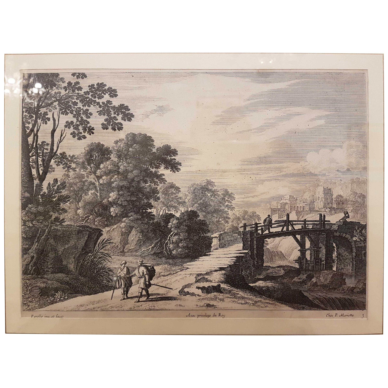 "17th Century Gabriel Perelle ""Landscape"" Etching, France, circa 1660"