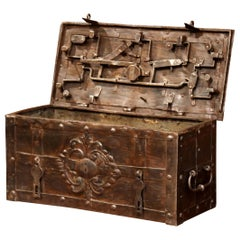 17th Century German Polished Wrought Iron Corsair Nuremberg Money Chest Safe
