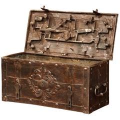 17th Century German Polished Wrought Iron Corsair Nuremberg Safe Money Chest