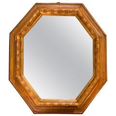 17th Century Gold Leaf Octagonal Wood Frame Mirror, Italy