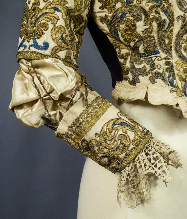 17th Century Golden Embroidered Baroque European Bodice Modified 19th Century For Sale 7