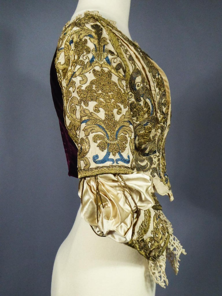 17th Century Golden Embroidered Baroque European Bodice Modified 19th Century For Sale 11