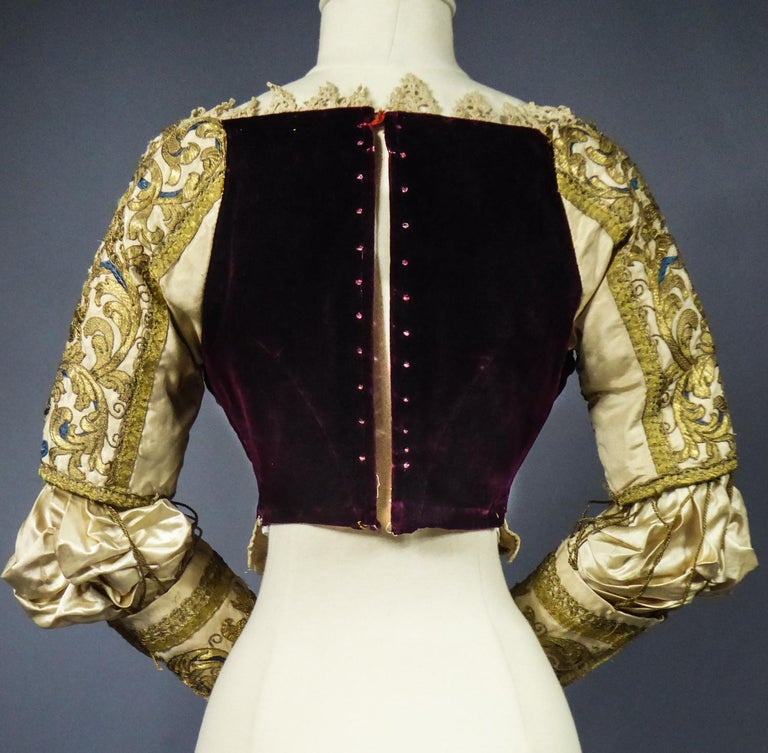 17th Century Golden Embroidered Baroque European Bodice Modified 19th Century For Sale 12