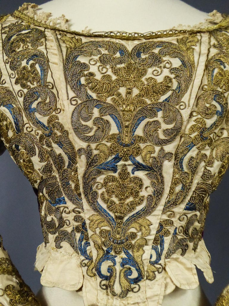 17th Century Golden Embroidered Baroque European Bodice Modified 19th Century For Sale 3