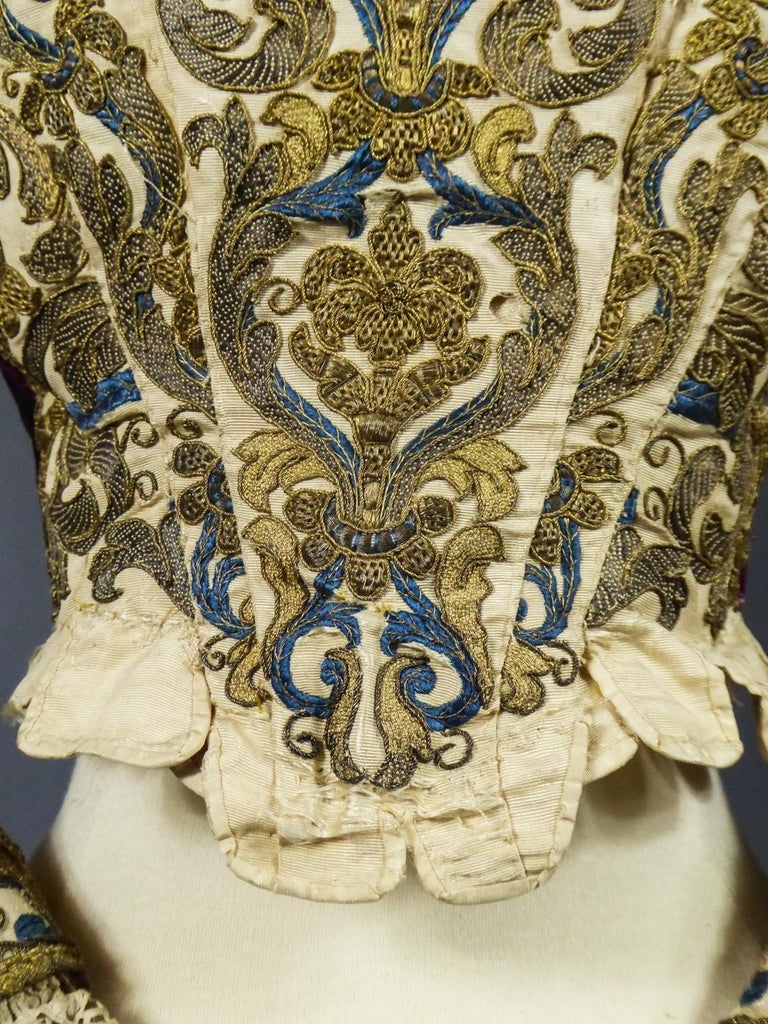 17th Century Golden Embroidered Baroque European Bodice Modified 19th Century For Sale 4