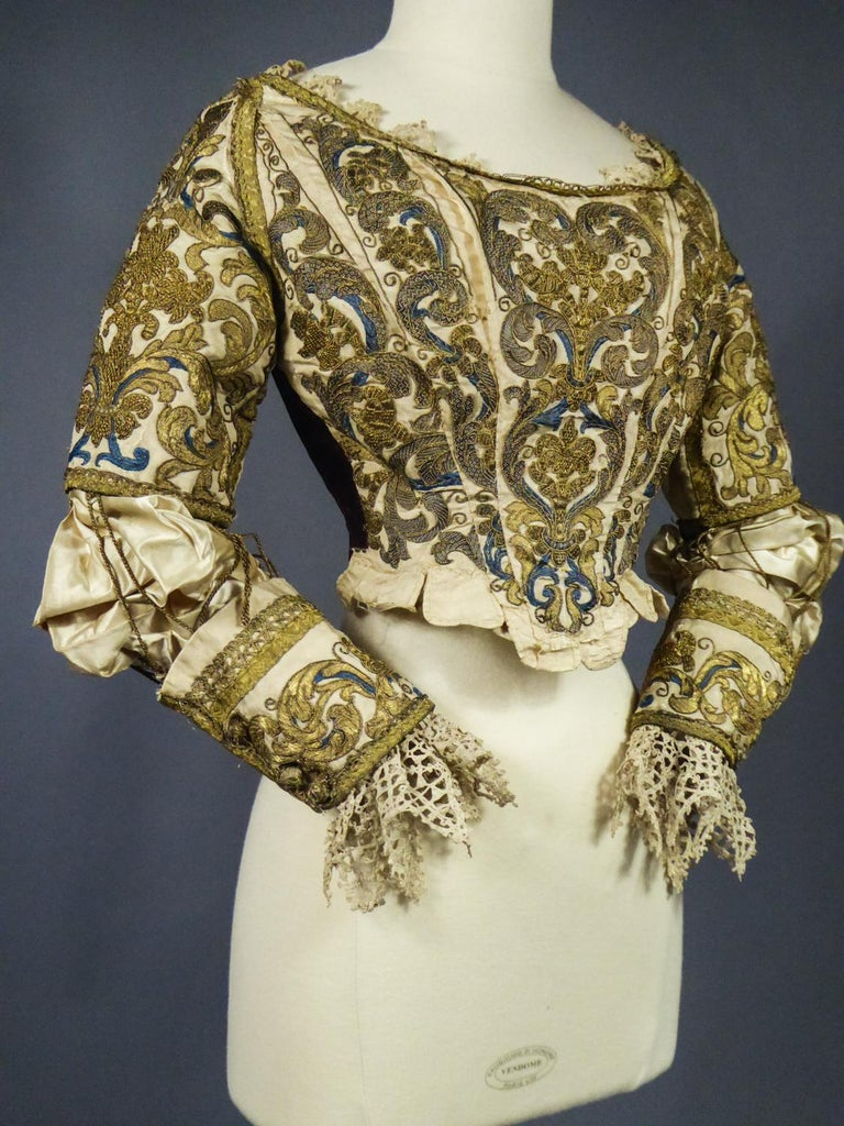 17th Century Golden Embroidered Baroque European Bodice Modified 19th Century For Sale 5