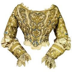 17th Century Golden Embroidered Baroque European Bodice Modified 19th Century